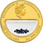 Australia 100 Dollars Treasures of Australia - Sapphires 2007 ELIZABETH II AUSTRALIA 2007 100 DOLLARS 1 OZ 9999 GOLD IRB coin obverse