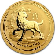 Australia 100 Dollars Year of the Dog 2018 YEAR OF THE DOG P IJ coin reverse