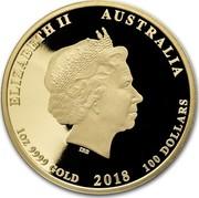 Australia 100 Dollars Year of the Dog (Colorized) 2018 ELIZABETH II AUSTRALIA 1 OZ 9999 GOLD 2018 100 DOLLARS IRB coin obverse