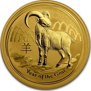 Australia 100 Dollars Year of the Goat High Relief 2015 YEAR OF THE GOAT P NM coin reverse