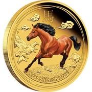 Australia 100 Dollars Year of the Horse (Colorized) 2014 ELIZABETH II AUSTRALIA 1 OZ 9999 GOLD 2014 100 DOLLARS IRB coin reverse