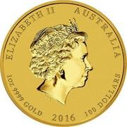 Australia 100 Dollars Year of the Monkey 2016 ELIZABETH II AUSTRALIA 1 OZ 9999 GOLD 2016 100 DOLLARS IRB coin obverse