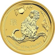 Australia 100 Dollars Year of the Monkey 2016 YEAR OF THE MONKEY P IJ coin reverse