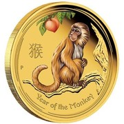 Australia 100 Dollars Year of the Monkey (Colorized) 2016 YEAR OF THE MONKEY P IJ coin reverse