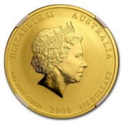 Australia 100 Dollars Year of the Mouse (Colorized) 2008 ELIZABETH II AUSTRALIA 1 OZ 9999 GOLD 2008 100 DOLLARS IRB coin obverse