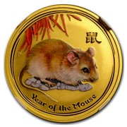 Australia 100 Dollars Year of the Mouse (Colorized) 2008 YEAR OF THE MOUSE P coin reverse