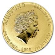 Australia 100 Dollars Year of the Ox (Colorized) 2009 ELIZABETH II AUSTRALIA 1 OZ 9999 GOLD 2009 100 DOLLARS IRB coin obverse