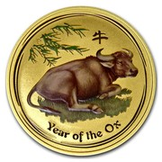 Australia 100 Dollars Year of the Ox (Colorized) 2009 YEAR OF THE OX P coin reverse