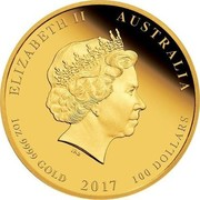 Australia 100 Dollars Year of the Rooster (Colorized) 2017 ELIZABETH II AUSTRALIA 1 OZ 9999 GOLD 2017 100 DOLLARS IRB coin obverse