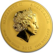 Australia 1000 Dollars Year of the Dog 2018 ELIZABETH II AUSTRALIA 10OZ 9999 GOLD 2018 1000 DOLLARS IRB coin obverse