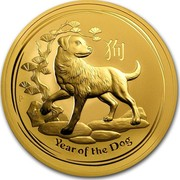 Australia 1000 Dollars Year of the Dog 2018 YEAR OF THE DOG P IJ coin reverse