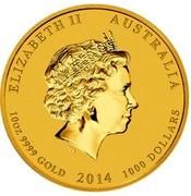 Australia 1000 Dollars Year of the Horse 2014 KM# 2107 ELIZABETH II AUSTRALIA 10 OZ 9999 GOLD 2014 1000 DOLLARS IRB coin obverse