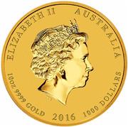 Australia 1000 Dollars Year of the Monkey 2016 ELIZABETH II AUSTRALIA 10 OZ 9999 GOLD 2016 1000 DOLLARS IRB coin obverse
