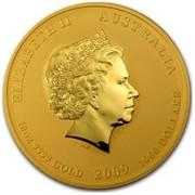 Australia 1000 Dollars Year of the Ox 2009 ELIZABETH II AUSTRALIA 10 OZ 9999 GOLD 2009 1000 DOLLARS IRB coin obverse