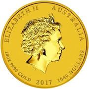 Australia 1000 Dollars Year of the Rooster 2017  ELIZABETH II AUSTRALIA 10 OZ 9999 GOLD 2017 1000 DOLLARS IRB coin obverse