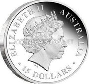 Australia 15 Dollars Frilled Neck Lizard 2010 ELIZABETH II AUSTRALIA 15 DOLLARS IRB coin obverse