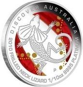 Australia 15 Dollars Frilled Neck Lizard 2010 DISCOVER AUSTRALIA 2010 FRILLED NECK LIZARD 1/10 OZ 9995 PLATINUM P DB coin reverse
