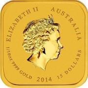 Australia 15 Dollars Horse series - Hongyuzuo Horse 2014 ELIZABETH II AUSTRALIA 1/10 OZ 9999 GOLD 2014 15 DOLLARS IRB coin obverse