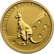 Australia 15 Dollars Kangaroo (constellation in background) 2009 AUSTRALIAN KANGAROO 1/10 OZ 9999 GOLD P JG coin reverse