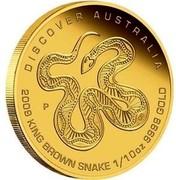 Australia 15 Dollars King Brown Snake 2009 DISCOVER AUSTRALIA 2009 KING BROWN SNAKE 1/10 OZ 9999 GOLD P DB coin reverse