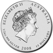 Australia 15 Dollars Lunar Mouse 2008 ELIZABETH II AUSTRALIA 1/2 KG 999 SILVER 2008 15 DOLLARS IRB coin obverse