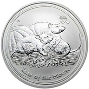 Australia 15 Dollars Lunar Mouse 2008 YEAR OF THE MOUSE P coin reverse