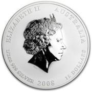 Australia 15 Dollars Lunar Mouse (Colorized) 2008 ELIZABETH II AUSTRALIA 1/2 KG 999 SILVER 2008 15 DOLLARS IRB coin obverse