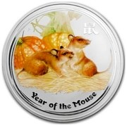 Australia 15 Dollars Lunar Mouse (Colorized) 2008 YEAR OF THE MOUSE P coin reverse