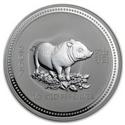 Australia 15 Dollars Lunar Pig 2007 2007 1/2 KILO 999 SILVER coin reverse