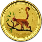 Australia 15 Dollars Monkey (Colorized) 2004 2004 1/10 OZ 9999 GOLD coin reverse