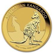 Australia 15 Dollars Resting Kangaroo 2016 AUSTRALIAN KANGAROO P 2016 1/10 OZ 9999 GOLD coin reverse