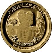 Australia 15 Dollars Resting Koala 2017  AUSTRALIAN KOALA 2017 1/10 OZ 9999 GOLD P TV coin reverse