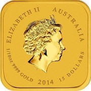 Australia 15 Dollars Ruyicong Horse 2014 ELIZABETH II AUSTRALIA 1/10 OZ 9999 GOLD 2014 15 DOLLARS IRB coin obverse