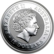 Australia 15 Dollars The Rooster (Colorized) 2005  ELIZABETH II AUSTRALIA 15 DOLLARS IRB coin obverse