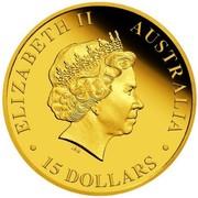 Australia 15 Dollars Walking Koala 2016 ELIZABETH II AUSTRALIA IRB ∙ 15 DOLLARS ∙ coin obverse