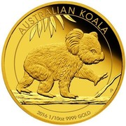 Australia 15 Dollars Walking Koala 2016 AUSTRALIAN KOALA P 2016 1/10OZ 9999 GOLD coin reverse