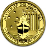 Australia 15 Dollars War in the Pacific 2015 BATTLE OF THE CORAL SEA P WAR IN THE PACIFIC 1941-45 coin reverse