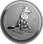 Australia 15 Dollars Year of the Dog 2006 2006 1/2 KILO 999 SILVER coin reverse