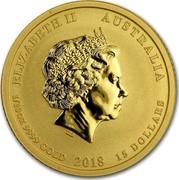 Australia 15 Dollars Year of the Dog 2018 ELIZABETH II AUSTRALIA 1/10 OZ 9999 GOLD 2018 15 DOLLARS IRB coin obverse