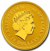 Australia 15 Dollars Year of the Dog (Colorized) 2006 ELIZABETH II AUSTRALIA 15 DOLLARS IRB coin obverse