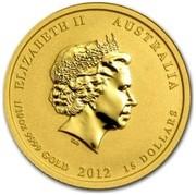 Australia 15 Dollars Year of the Dragon (Colorized) 2012 ELIZABETH II AUSTRALIA 1/10 OZ 9999 GOLD 2012 15 DOLLARS IRB coin obverse