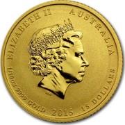 Australia 15 Dollars Year of the Goat 2015 ELIZABETH II AUSTRALIA 1/10 OZ 9999 GOLD 2015 15 DOLLARS IRB coin obverse