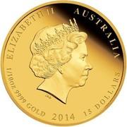 Australia 15 Dollars Year of the Horse 2014 KM# 2102 ELIZABETH II AUSTRALIA 1/10 OZ 9999 GOLD 2014 15 DOLLARS IRB coin obverse