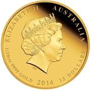 Australia 15 Dollars Year of the Horse (Colorized) 2014 KM# 2102a ELIZABETH II AUSTRALIA 1/10 OZ 9999 GOLD 2014 15 DOLLARS IRB coin obverse