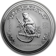 Australia 15 Dollars Year of the Monkey 2004 2004 1/2 KILO 999 SILVER coin reverse