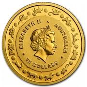 Australia 15 Dollars Year of the Monkey 2016 ELIZABETH II AUSTRALIA 15 DOLLARS IRB coin obverse