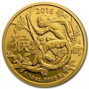 Australia 15 Dollars Year of the Monkey 2016 2016 1/10 OZ .9999 AU coin reverse