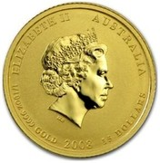 Australia 15 Dollars Year of the Mouse (Colorized) 2008 ELIZABETH II AUSTRALIA 1/10 OZ 9999 GOLD 2008 15 DOLLARS IRB coin obverse