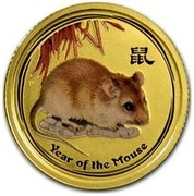 Australia 15 Dollars Year of the Mouse (Colorized) 2008 YEAR OF THE MOUSE P coin reverse