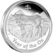 Australia 15 Dollars Year of the Ox 2009 YEAR OF THE OX P coin reverse